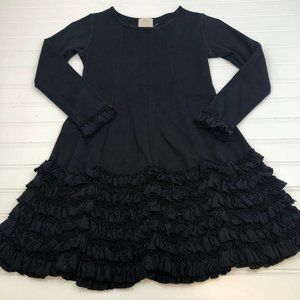 Lemon Loves Lime Black Ruffle Knit Dress Girls 7